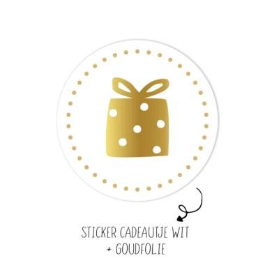 Sticker cadeautje wit goud