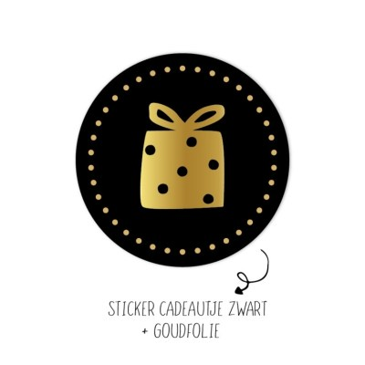 Sticker zwart met goud cadeautje