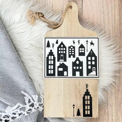 Sinterklaas DIY stickers grachtenhuisjes