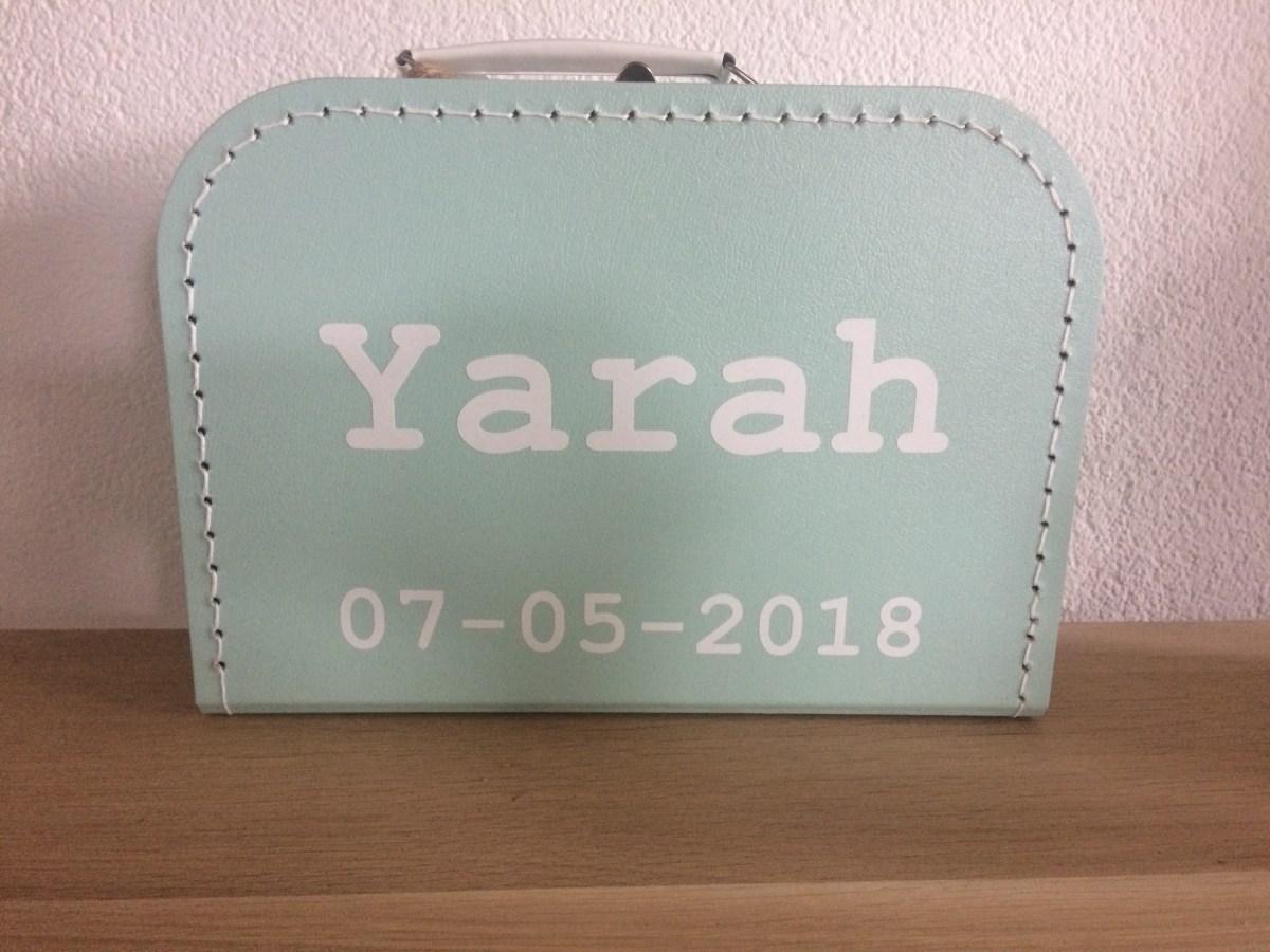 Kinderkoffertje naam en geboortedatum -liefsvanlauren.nl