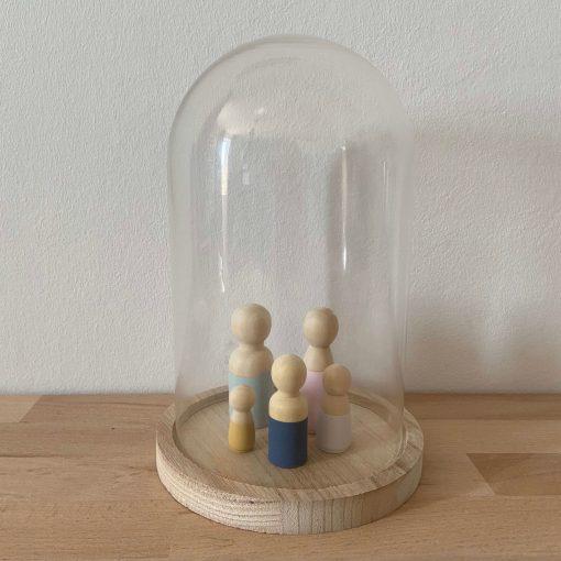 Medium stolp, houten stolp, glazen stolp, houten poppetjes, liefsvanlauren.nl