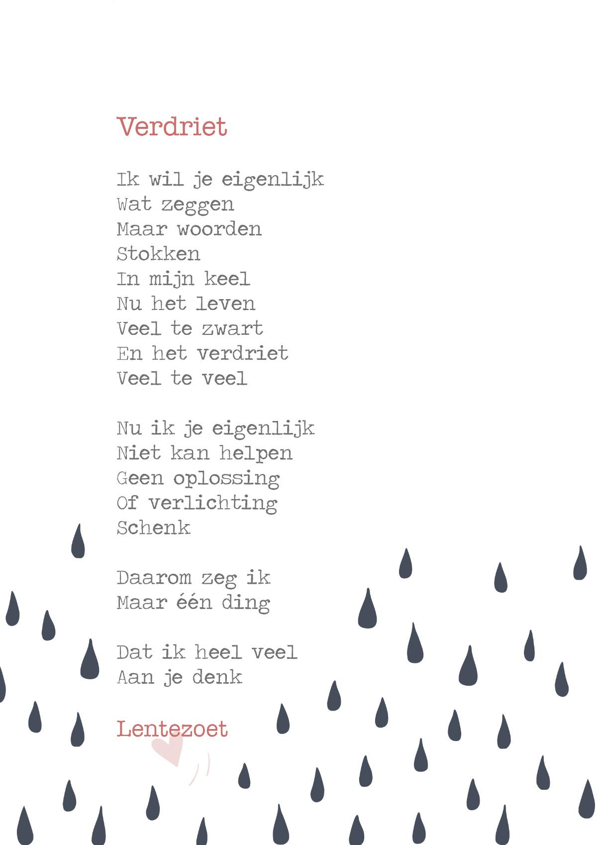 Nieuw Verdriet, gedicht door Lentezoet, pakkend troostend HH-63