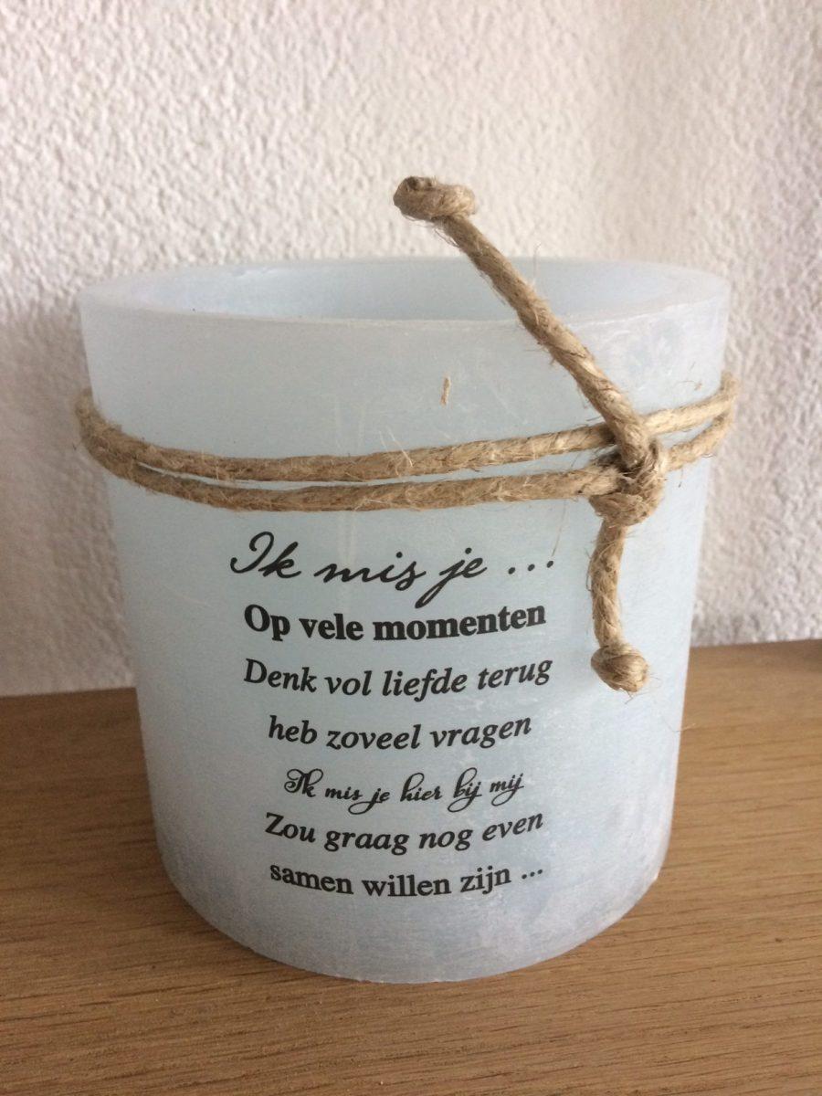 Windlicht ik mis je, parafine windlicht, liefsvanlauren.nl