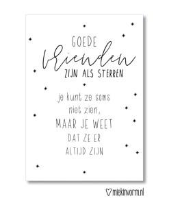 Echte vrienden zijn als sterren, kaart, MIEKinvorm, liefsvanlauren.nl