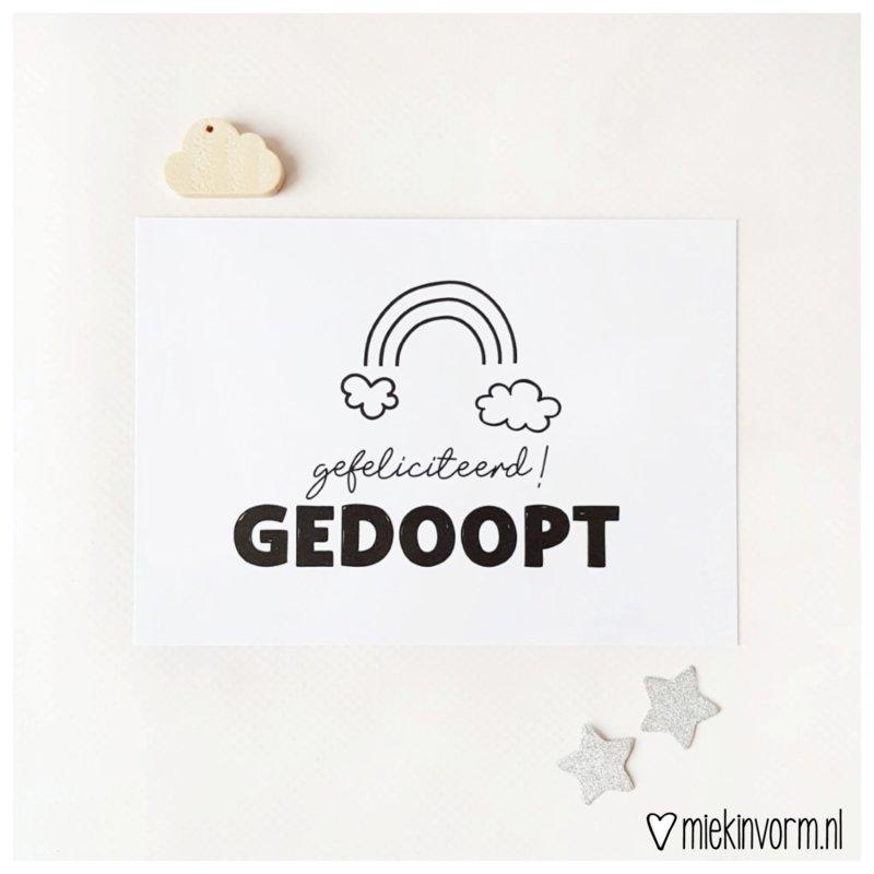 hoera gedoopt, christelijke kaart, miekinvorm, regenboog,liefsvanlauren.nl