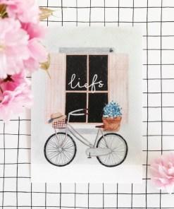 kaart liefs, carmens tekentafel, bloemen op fiets, brievenbusgeluk, liefsvanlauren.nl