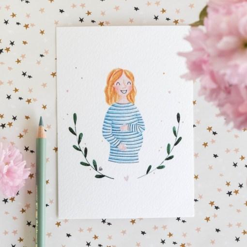 Kaart zwanger, carmens tekentafel, aquarel, liefsvanlauren.nl