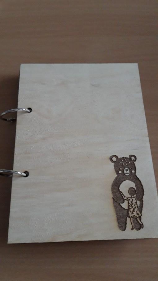 Houten invulboekje Beer, leg herinneringen vast, dagboek, condoleance boek, kinderlijn, liefsvanlauren.nl