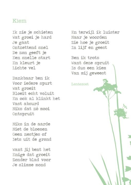 gedicht kiem, lentezoet, gedicht kaart, liefsvanlauren.nl