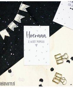 mini kaartje hoera je wordt mama, miekinvorm, kraamcadeautje, cadeau label, liefsvanlauren.nl