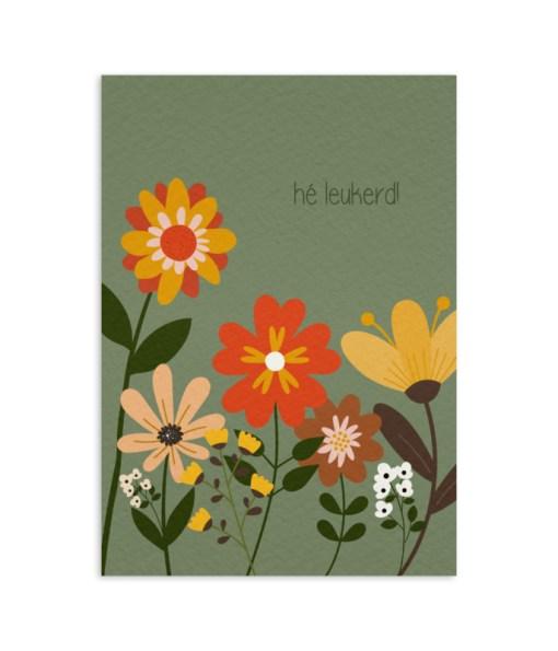 Hé Leukerd!, Retro kaart, bloemen kaart, My Paperstation, liefsvanlauren.nl