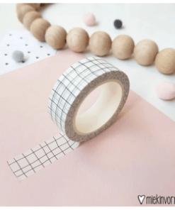 washi tape zwart/ wit geblokt, miekinvorm, masking tape, liefsvanlauren.nl