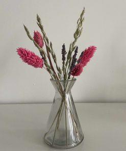 glazen vaasje driehoek, boeketje, droogbloemen, liefsvanlauren.nl
