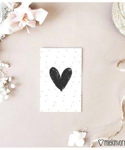 mini kaartje met groot hart, mini kaartje, miekinvorm, hartjes kaart, liefsvanlauren.nl