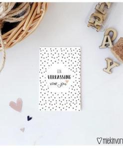 mini kaartje een verrassing voor jou, surprise, miekinvorm, cadeau kaartje, compliment, liefsvanlauren.nl