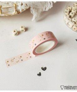 washi tape ster maan roze, miekinvorm, masking tape, maan/ster, goudfolie, liefsvanlauren.nl