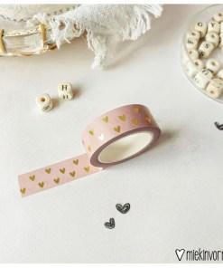 washi tape Roze met gouden hartjes, miekinvorm, making tape, liefsvanlauren.nl