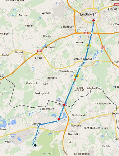 Een stuk van de Liberation Route van Lommel naar Eindhoven die ik fietste