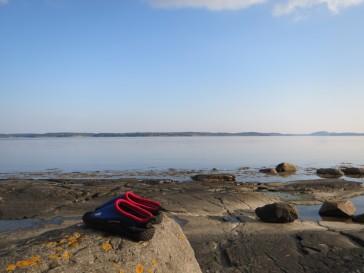 Zweden,Tjörn,Berga,zwemmen,schoentjes,zee,september 2014