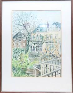 schilderij,An van Berkel-Zorn,An Zorn,aquarel,achteruitzicht,van Speijkstraat 42,,Den Haag