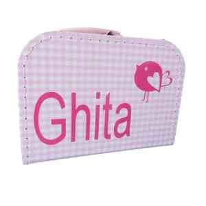 Koffer roze ruit