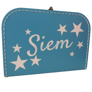 Aquablauw koffertje met naam en/of afbeelding