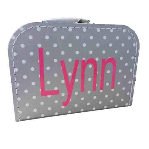 Grijs polkadot koffertje met naam