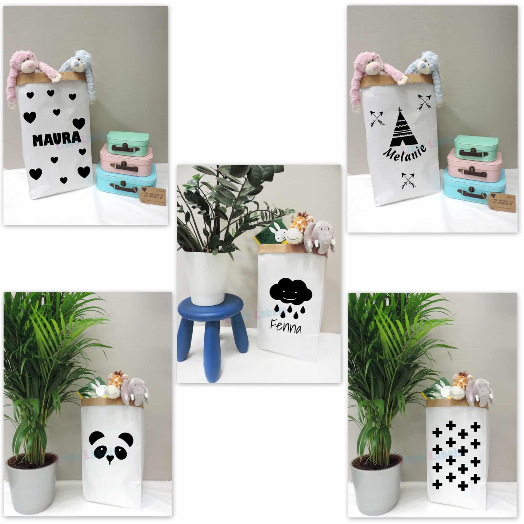 Paperbag maat m met opdruk naar keuze met of zonder naam lieve - Home decoratie met tomettes ...