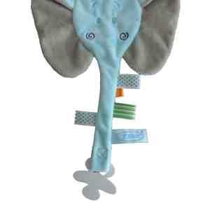 Speendoek olifant met naam blauw