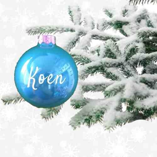 kerstbal met naam aqua glans