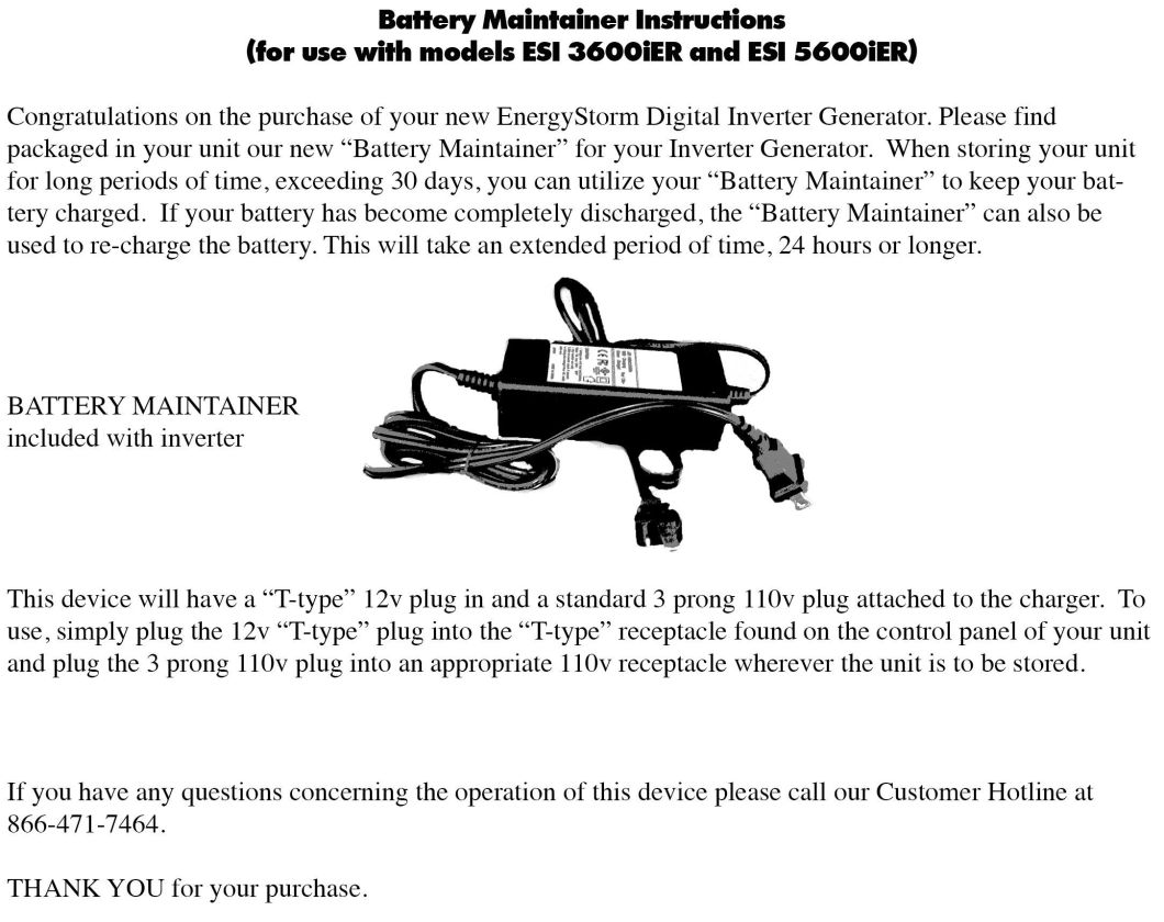 Battery Maintainer Instructions