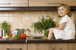 indoor garden young girl kitchen