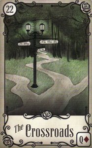 Crossroads, from the Under the Roses Lenormand by Kendra Hurteau & Katrina Hill. Published by U. S. Games Systems, Inc.