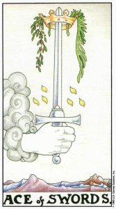 Ace of Swords, from the Universal Waite Tarot by A. E. Waite & Pamela Colman Smith. Published by U. S. Games Systems, Inc.