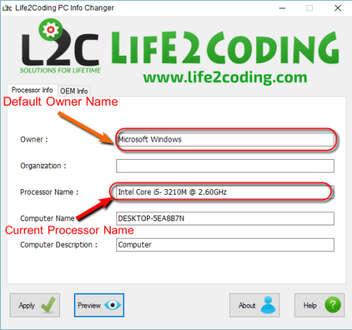 009ea93aa0 life2coding pc1 How to Change System Information (Processor
