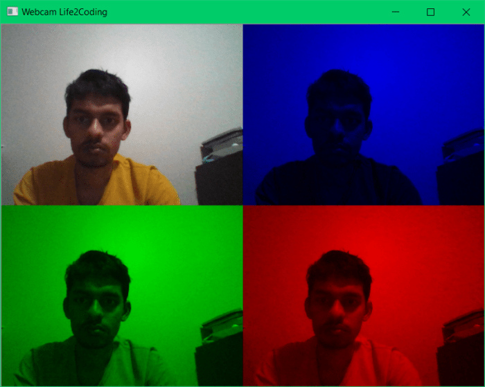 Split Video Channels into RGB components using OpenCV in Python