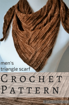 Parquet is a triangular crochet scarf with a textured wooden pattern, created using post stitches. A unique and visually striking accessory for men and women.