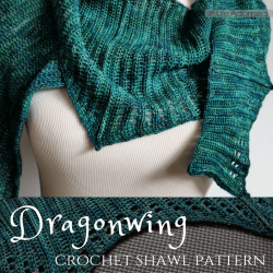 Wrap yourself in a mystical beast's wing with this fantastical crochet pattern. Dragonwing is a uniquely shaped lace shawl designed to make you feel transported to a magical world.
