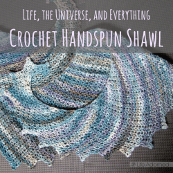 Life, the Universe, and Everything is an attractive and cozy handspun shawl. I stitched it using handspun yarn and a free, easy-to-follow crochet pattern.