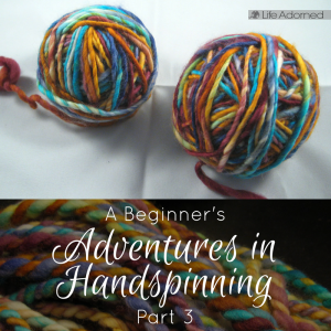 Join me as I take on a new fiber hobby to complement my crochet: handspinning my own yarn. Part 3 includes my first finished two-ply yarn.