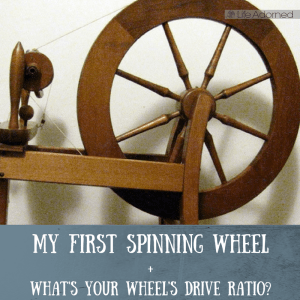 My first spinning wheel is an old Ashford traditional. Let's discuss drive ratios and different types of wheels, and you can see my first wheel-spun yarn.