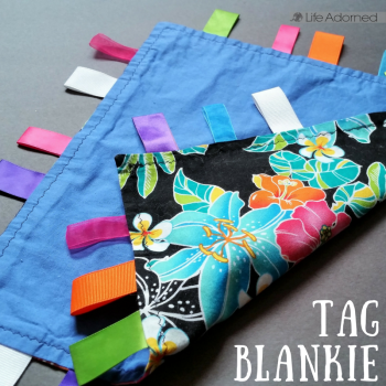 For a beginner using my sewing machine for the first time, this little tag blankie was an entertaining project with quick gratification. My baby loves it!