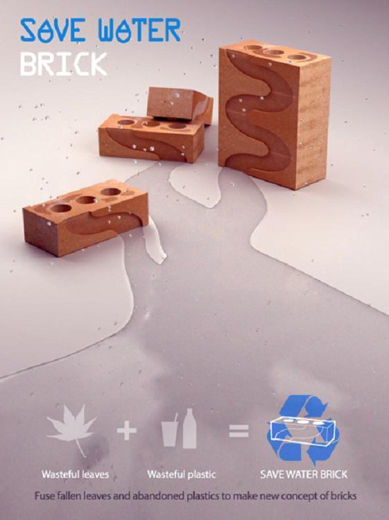 Recycled Wall Brick save water 1