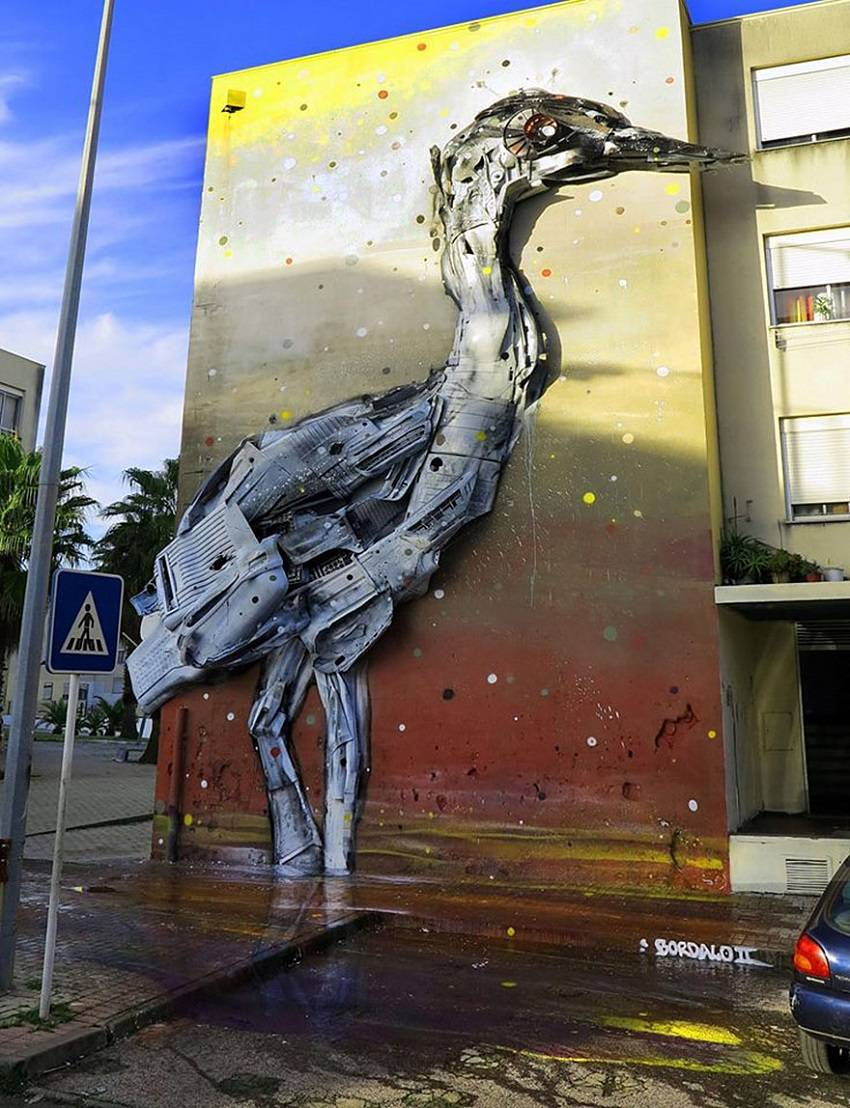 04-Bordalo II - Amazing Street Art Murals From Trash
