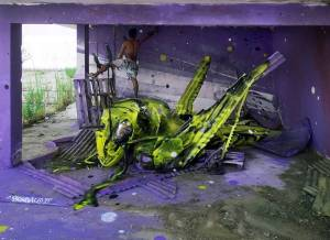 08-Bordalo II - Amazing Street Art Murals From Trash