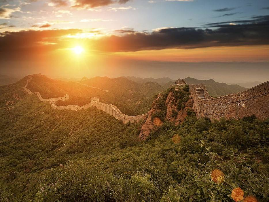 Magnificent Sunsets Great Wall of China, Jinshanling, China