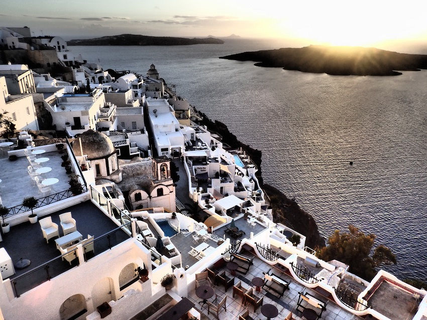 Santorini Island Greece - bird's-eye view