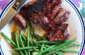 Green beans and a grilled steak