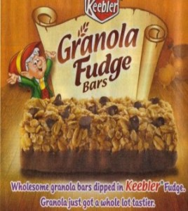 Ad for Keebler Granola Fudge Bars -- wholesome granola dipped in fudge