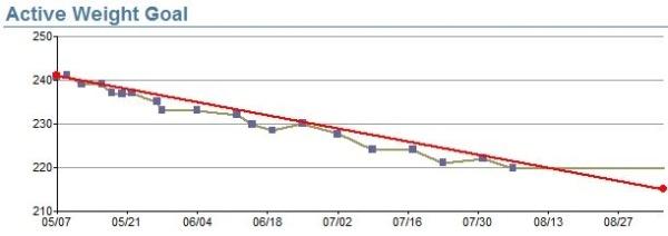 Weight goal line graph